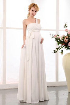 Noble One Shoulder Empire Chiffon Maternity Wedding Dress