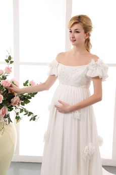 Off The Shoulder Short Sleeves Maternity Bridal Dress