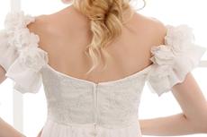 Off The Shoulder Short Sleeves Maternity Bridal Dress