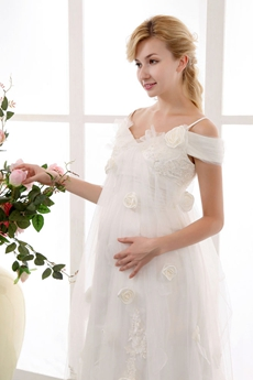 Off The Shoulder Empire Maternity Bridal Gown