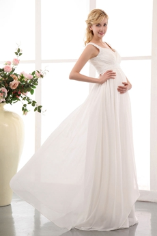 Straps Ivory Chiffon Beaded Maternity Wedding Gown