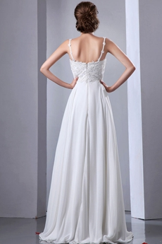 Grecian Spaghetti Straps V-Neckline Empire Ivory Maternity Wedding Dress