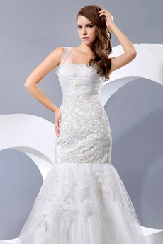 Glamour Straps Mermaid/Fishtail Lace Wedding Dress