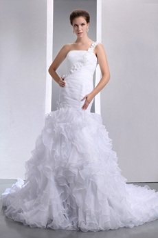 Most Stylish Organza Mermaid Wedding Gown Multi-Layered