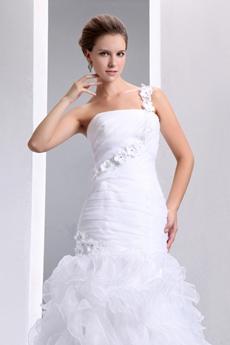 Most Stylish Organza Mermaid Wedding Gown Multi-Layered