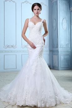 Terrific Low-Cut Straps Fishtail/Mermaid Lace Wedding Gown