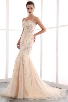 Fashionable Beaded Champagne Wedding Dress