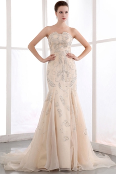 Fashionable Beaded Champagne Wedding Dress