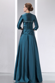 Glamour 3/4 Sleeves Teal Colored Mother Of The Bride Gown