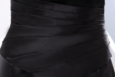Strapless A-line Black Satin Long Mother Dress