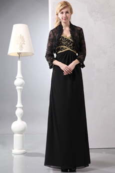 Ankle Length Black Chiffon Mother Dress With Lace Bolero