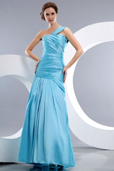 Modest One Straps Sheath Full Length Blue Prom Dress