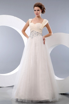 Straps Puffy Full Length Cream Princess Quinceanera Dress