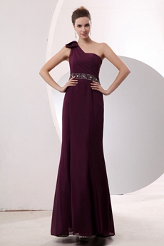 Noble One Shoulder Sheath Grape Chiffon Bridesmaid Dress