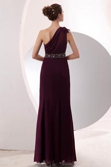 Noble One Shoulder Sheath Grape Chiffon Bridesmaid Dress