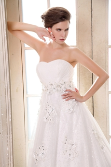 Flattering A-line Tulle Plus Size Wedding Dress With 3d Flowers