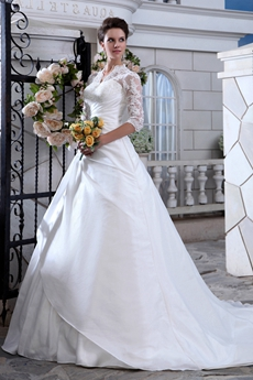 3/4 Sleeves Winter Wedding Dress With Illusion Neckline