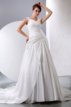 Cap Sleeves Satin Wedding Dress