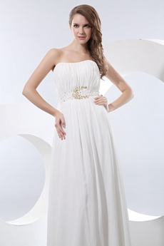 Dipped Neckline Column/Straight Chiffon Beach Wedding Dress