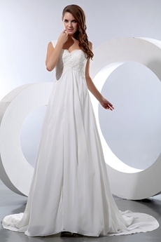 Romantic Straps Ivory Chiffon Destination Wedding Dress