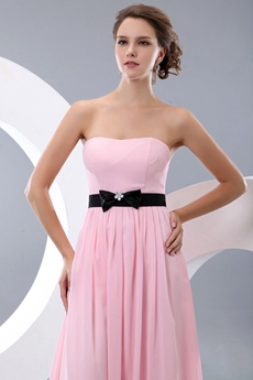 Noble Strapless A-line Pink Chiffon Bridesmaid Dress With Black Belt