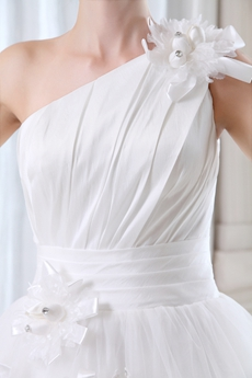 Beautiful One Shoulder Jeweled Princess Bridal Dress