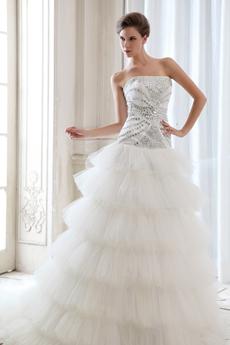 Drop Waist Inspired 6 Tiered Wedding Dress With Diamonds