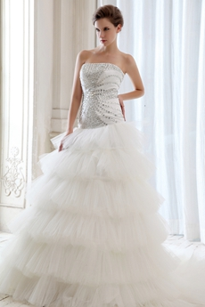 Drop Waist Inspired 6 Tiered Wedding Dress With Diamonds