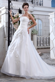 Single Straps Organza A-line Wedding Dress With Handmade Flowers