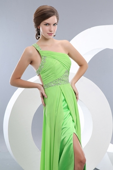 Lime Green Long Cocktail Dress