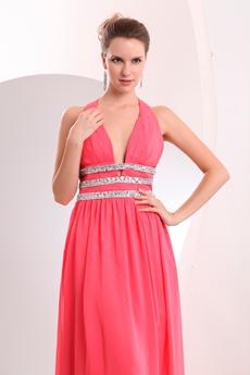 Plunge Neckline A-line Full Length Watermelon Chiffon College Graduation Dress