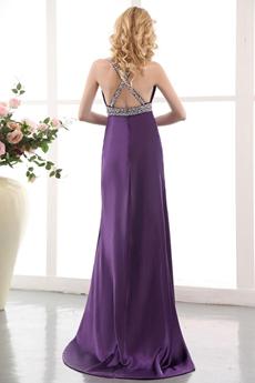 Sexy Straps Purple Satin Cocktail Dress High Slit