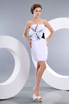 Sheath Mini Length White & Black Cocktail Dress