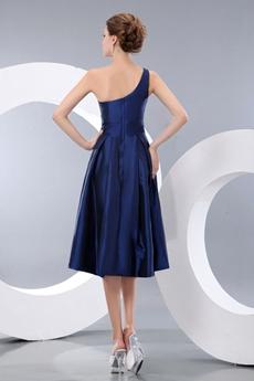 Tea Length One Shoulder Dark Royal Blue Junior Prom Party Dress