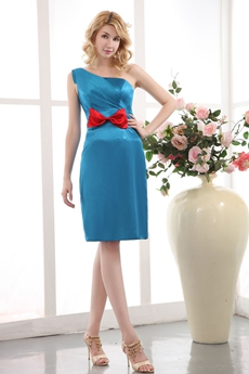 Chic Knee Length One Shoulder Blue Wedding Guest Dress