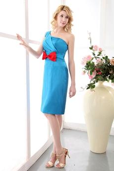 Chic Knee Length One Shoulder Blue Wedding Guest Dress