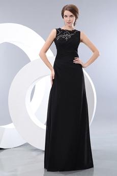 Jewel Neckline A-line Black Chiffon Prom Party Dress
