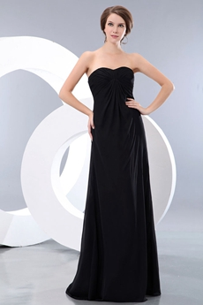 Empire Full Length Black Chiffon Maternity Prom Dress