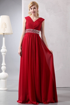 Modest V-Neckline Red Chiffon Prom Dress