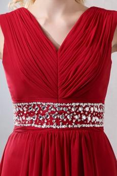 Modest V-Neckline Red Chiffon Prom Dress