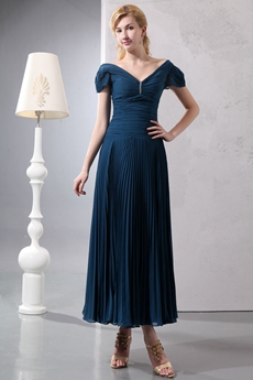 Tea Length V-neckline Teal Chiffon Mother Of The Groom Dress