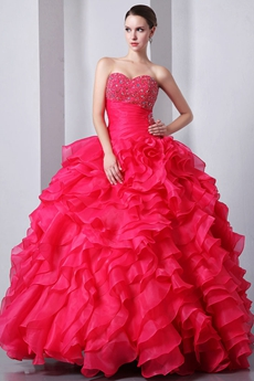 Cute Sweetheart Ball Gown Hot Pink Quinceanera Dress With Beads