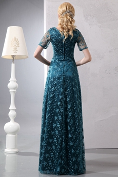 Short Sleeves Long Length Teal Color Lace Mother Dress