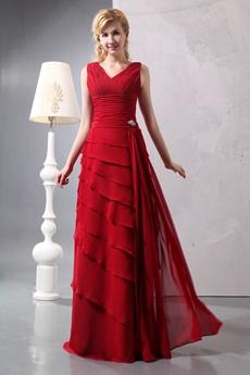 Vintage V-Neckline A-line Full Length Red Chiffon Mother Of The Bride Dress