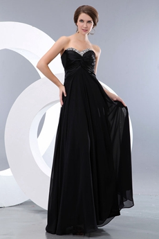 Delicate A-line Black Chiffon Plus Size Prom Party Dress