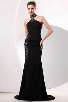 Modern Halter A-line Black Evening Dress With Beads