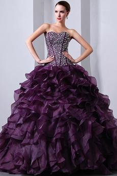 Amazing Multi Layered Grape Quincenera Dress With Rhinestones