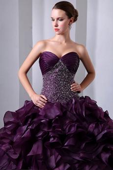 Retro Organza Multi Ruffled Grape Color Vestidos de Quinceanera Dress