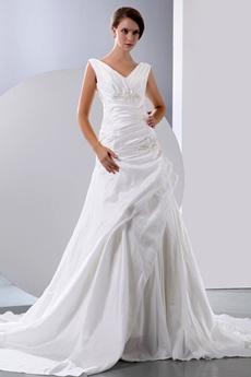 Graceful V-neckline Taffeta Wedding Dress Dropped Waist