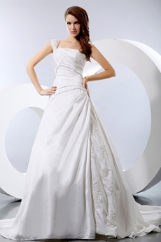 Affordable One Straps Ivory Taffeta Wedding Dress